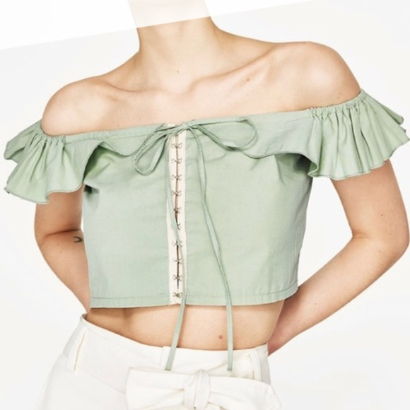 40cb0556 Zara Tops | Green Off The Shoulder Crop Top | Poshmark